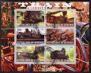 Burundi Used S/S Locomotives 6 Stamps 2009