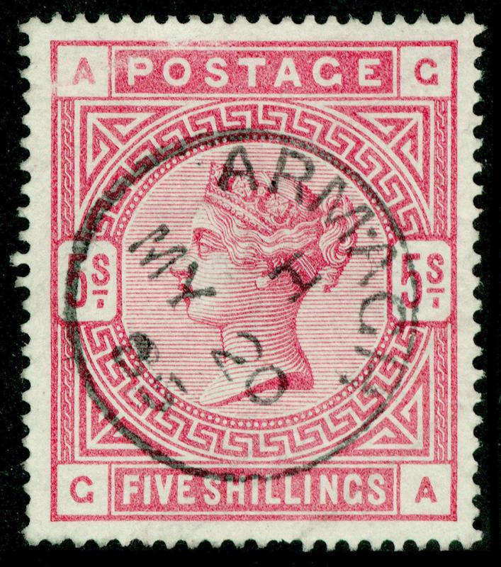 SG176, SCARCE 5s rose, USED. Cat £3850. BLUED PAPER. GA
