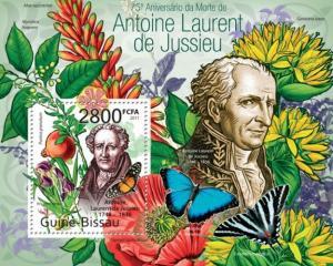 GUINE BISSAU 2011 SHEET ANTOINE LAURENT DE JUSSIEU BUTTERFLIES FLOWERS PAPILLONS