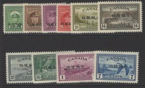 CANADA SGO162/71 1949 OFFICIAL SET MTD MINT