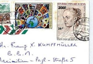 BENIN Cover RUBENS 20f on 200f SURCHARGE (1983) Missionary 1992 Air Mail CM30
