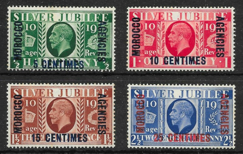 MOROCCO AGENCIES SG212/5 1935 SILVER JUBILEE FRENCH CURRENCY SET MTD MINT