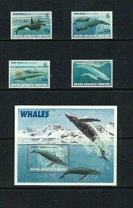 British Antarctic Territory: 1996 Whales, MNH set + M/S
