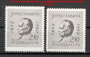 YUGOSLAVIA- MNH TWO STAMPS , perf 10 ½ - SIZE ERROR - LOOK SCAN-TITO-1980.