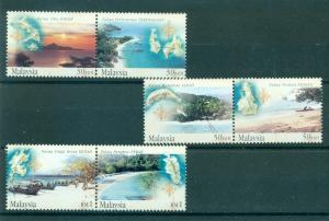 Malaysia - Sc# 889-91. 2002 Islands and Beaches MNH Pairs. $6.50.