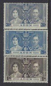 Aden, Scott #13-15; King George VI Coronation, MH