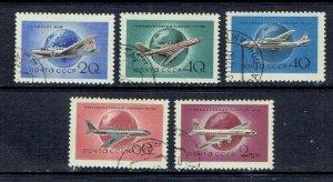 RUSSIA - 1958 SOVIET AIRCRAFT - SCOTT 2147 TO 2151 - USED