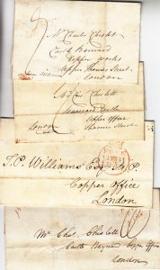 British: 4 Stampless Covers (S18173)