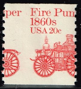US STAMP #1908 1981 20¢ Fire Pumper Transportation MNH MISPERF ERROR CREASE