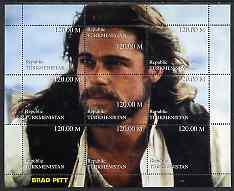 Turkmenistan 1999 Brad Pitt composite perf sheetlet conta...