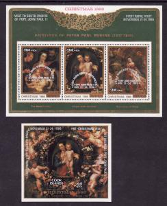 Cook Is.-Sc#B103-4-two unused NH sheets-Christmas-1986