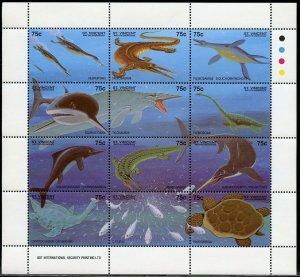 ST. VINCENT GRENADINES SCOTT#2048a  AQUATIC PREHISTORIC ANIMALS  SHEET MINT NH