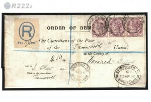 GB Poor Law Cover Registered ORDER OF REMOVAL Birmingham 1880 EL Tamworth R222a