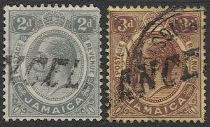 JAMAICA 1912 Scott 63,65  Used F-VF, KGV  CANCELLED postmarks