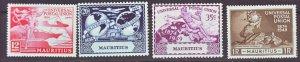 J22172 Jlstamps 1949 mauritius set mh #231-4 upu