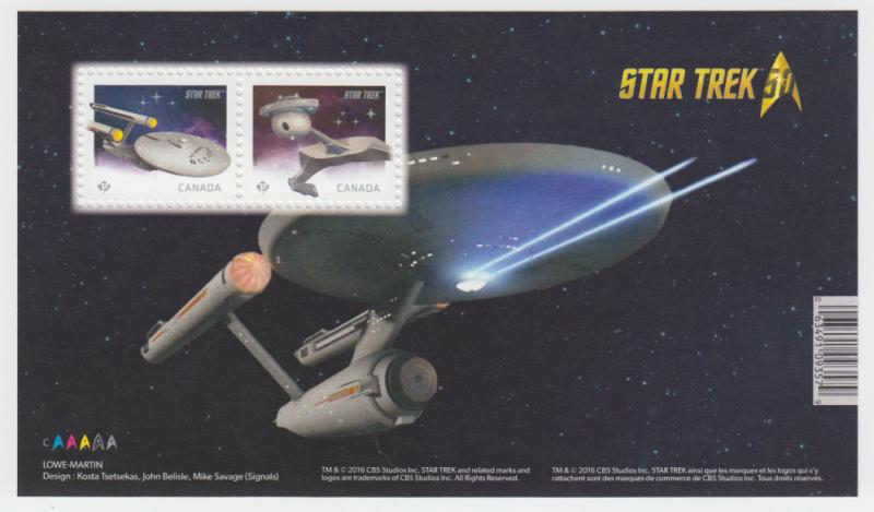 Canada - #2911 Star Trek 50th Anniversary Souvenir Sheet - MNH