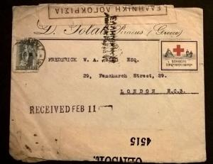 Greece Piraeus censored cover Red Cross label etiquette Cinderella Free UK Post
