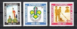 Dominican Rep., Scott cat. 718-719, C213. 50th Anniv. of Scouting, LH issue. *