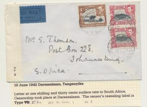 KUT (DAR ES SALAAM) TO SOUTH AFRICA 1942 AIR CENSOR COVER, 1sh30cRATE(SEE BELOW)