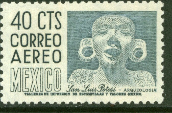 MEXICO C211, 40¢ 1950 Definitive 2nd Printing wmk 300 HORIZ. UNUSED, H NG. VF.