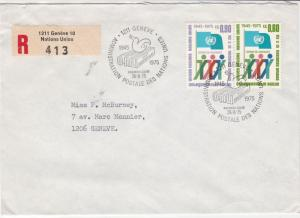 Geneva United Nations 1975 Registered stamps cover ref 21699
