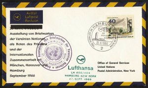 wc042 Berlin United Nations FDC Sep. 21, 1966 Lufthansa flight FDC first day cvr