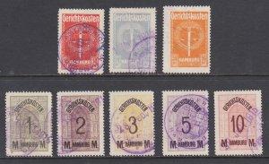 Germany, Hamburg, 1914 Court Fee Revenues, 8 different, used, sound, F-VF