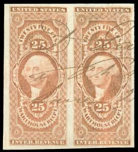 momen: US Stamps #R50a Pair Revenue Manuscript