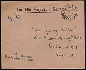 MALTA 1950 small OHMS cover VICTORIA BO / GOZO cds - The Lyceum handstamp