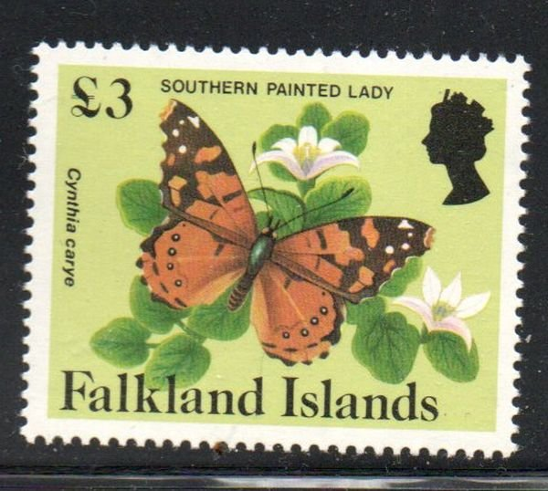 Falkland Islands Sc 401 1984 £3 Southern Painted Lady stamp mint NH