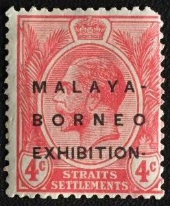 Malaya-Borneo Exhibition opt Straits Settlements KGV 4c Raised Stop MNG SG#242c