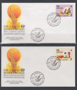 UN Vienna 78-79 Hunger UN Postal Administration U/A Set of Two FDC
