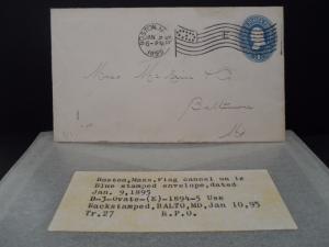 Boston MA 1895 Ovate flag cancel D3 E on U295 BALTO MD backstamp TR27 RECD #13