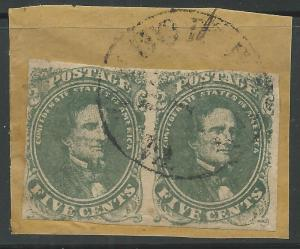 CSA Scott #1 Stone 1 Used Pair of Confederate Stamps on Piece Tudor Hall, VA