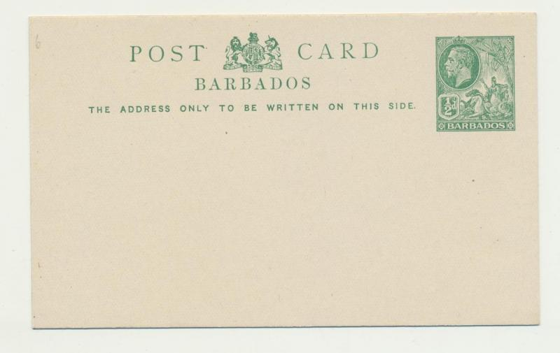BARBADOS 1912, ½d POST CARD, VF UNUSED (SEE BELOW)