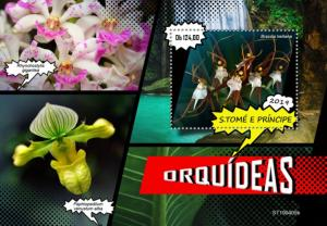 SAO TOME - 2019 - Orchids - Perf Souv Sheet - MNH