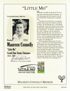 Goodman Art Cachet 5377 Tennis Little MO Maureen Connolly Souvenir Page PM Sign