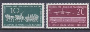 Germany DDR 408-09 MNH 1958 Stamp Day - Post Wagon - Mail Train & Plane Set VF