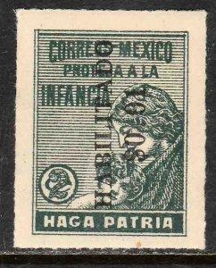 MEXICO RA10, HABILITADO 1¢ ON 2¢ Postal Tax. UNUSED, H OG. F-VF..