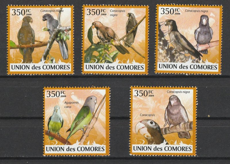 Comoro Islands MNH Set Parrots Birds 2009