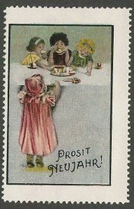 New Year's Greeting, Germany, Early Poster Stamp, Cinderella Label