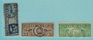 United States (U.S.) Stamps Scott #C-7 To C-9, US Map with Two Mail Planes, A...