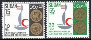 Sudan 162-163, MNH. Intl. Red Cross Cent. Emblem and Medals, 1963