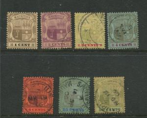 STAMP STATION PERTH Mauritius #128-135 Arms Issue Used Short Set of 7  CV$34.00