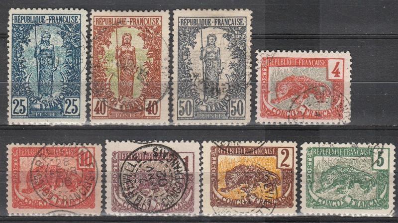 French Congo #35-9, 42, 44-5 F-VF Used CV $19.30  (A16854)