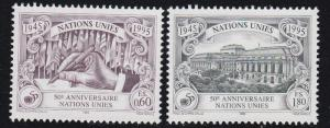 United Nations - Vienna # 186-187, 50th Anniversary, NH, 1/2 Cat.