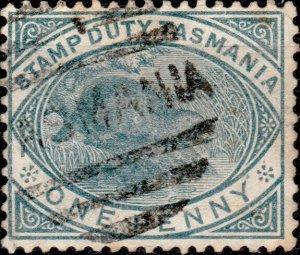 AUSTRALIA / TASMANIA - 1880 SG.F26 1d slate Postal-Fiscal used