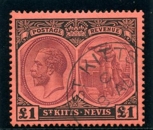 St Kitts-Nevis 1922 KGV £1 purple & black/red very fine used. SG 36. Sc 36.