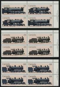 Canada 1072a-4 TR Plate Blocks MNH Trains