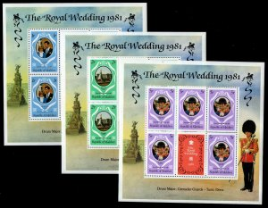 Maldive Islands Sc #906-908 MS of 5 + Label - Princess Diana Royal Wedding 1981